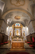 Low angle view of altar in Place Gaffory church, Corte, Corsica, France
