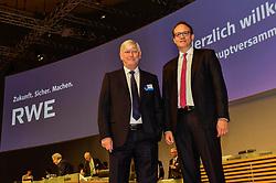 Germany, Essen - May 3, 2019.Annual general meeting of German power supplier RWE AG.From left Rolf Martin Schmitz and Markus Krebber (Credit Image: © Sepp Spiegl/Ropi via ZUMA Press)