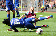 Alan Hutton of Aston Villa battles with Jacques Jutliewicz of Birmingham city.  EFL Skybet championship match, Aston Villa v Birmingham city at Villa Park in Birmingham, The Midlands on Sunday 23rd April 2017.<br /> pic by Bradley Collyer, Andrew Orchard sports photography.