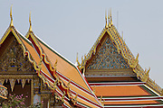 29 FEBRUARY 2008 -- BANGKOK, THAILAND:  The roofline of Wat Phra Chetuphon, which is more commonly known by its old name of Wat Po. It is both the largest and older Buddhist Temple in Bangkok. It  was founded in the 17th century and covers about 20 acres.   Photo by Jack Kurtz
