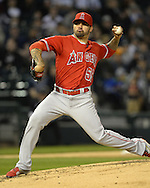 CHICAGO - APRIL 18:  Hector Santiago #53 of the Los Angeles Angels of Anaheim pitches against the Chicago White Sox on April 18, 2016 at U.S. Cellular Field in Chicago, Illinois.  The Angels defeated the White Sox 7-0.  (Photo by Ron Vesely)    Subject:  Hector Santiago
