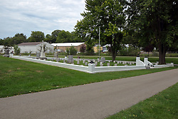 26 August 2017:   A part of the History of McLean County Illinois.<br /> <br /> Tombstones in Evergreen Memorial Cemetery.  Civic leaders, soldiers, and other prominent people are featured.<br /> <br /> Section 5, the old town soldiers area