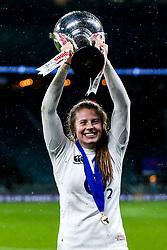 Zoe Harrison of England Women England Women celebrates winning the Women's Six Nations and Grand Slam - Mandatory by-line: Robbie Stephenson/JMP - 16/03/2019 - RUGBY - Twickenham Stadium - London, England - England Women v Scotland Women - Women's Six Nations