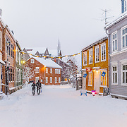 Bakklandet is the downtown of Trondheim with the beautiful wooden houses.