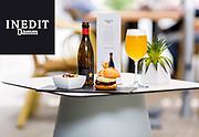 3 tapes del Hotel Ciutat de Girona servides amb cervesa Estrella Inedit d'estrella Damm.