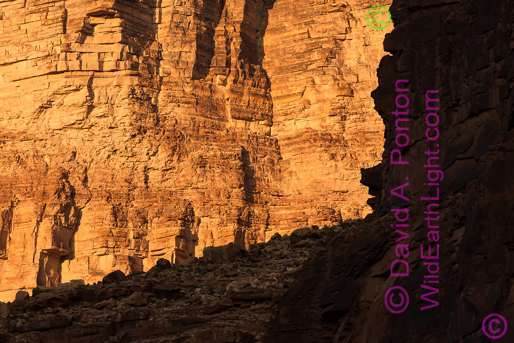 Cliff detail on the east wall of the Grand Canyon, framed by cliff and talus at North Canyon, Grand Canyon National Park, © David A. Ponton
