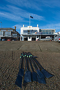 Putney, London, Varsity, Tideway Week, 5th April 2019, Embankment, OUWBC Blades, of Imperial College  on the beach in front of Imperial College Boathouse, Oxford/ Cambridge Media week, Championship Course,<br /> [Mandatory Credit: Peter SPURRIER], Friday,  05.04.19,