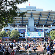 Spectators outside Arthur Ashe Stadium during the US Open Tennis Tournament, Flushing, New York, USA. 4th September 2014. Photo Tim Clayton
