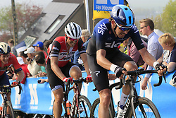 Luke Rowe (WAL) Team Sky and John Degenkolb (GER) Trek-Segafredo climb the Paterberg for the last time during the 2019 Ronde Van Vlaanderen 270km from Antwerp to Oudenaarde, Belgium. 7th April 2019.<br /> Picture: Eoin Clarke | Cyclefile<br /> <br /> All photos usage must carry mandatory copyright credit (© Cyclefile | Eoin Clarke)