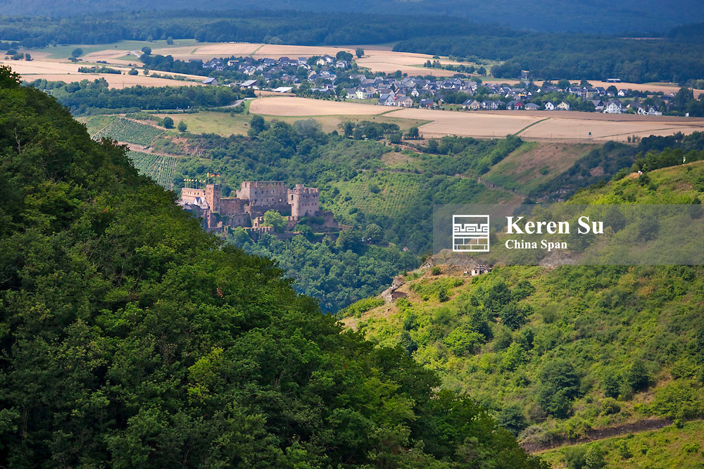 Landscape of vineyard, towns and Katz Castle in the mountain, Upper Middle Rhine Valley (UNESCO World Herigage site), St. Goars-Hausen, Germany