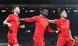 Liverpool's Sadio Mane (centre) celebrates scoring his side's second goal of the game during the Premier League match at Anfield, Liverpool.