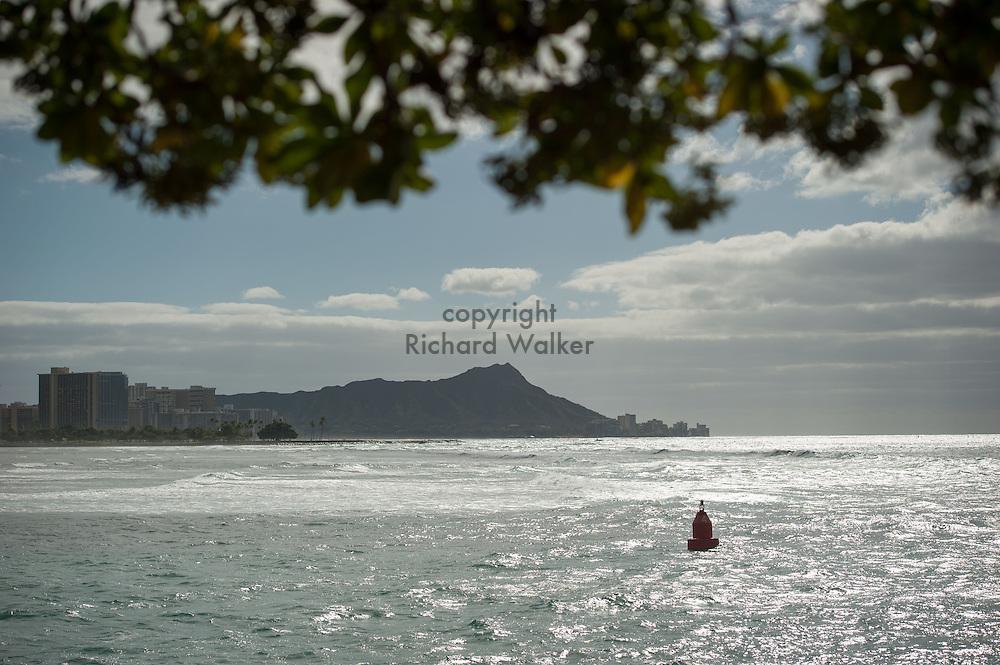 2014 January 25 - Diamond Head and Waikiki seen from Point Panic in Kakaako, Honolulu, HI, USA. By Richard Walker