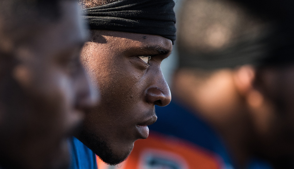 Michael Archer, a freshman linebacker for Orange Coast College, watches his team play against Fullerton College at LeBard Stadium on November 5, 2016.  Fullerton College won the game 35-14.