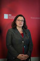 DEU, Deutschland, Germany, Berlin, 07.09.2018: Die Vorsitzende der SPD-Bundestagsfraktion, Andrea Nahles, bei einem Pressestatement nach der Klausurtagung.