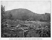 FEDERAL ENTRENCHMENTS AT THE FOOT OF KENESAW MOUNTAIN from the book ' The Civil war through the camera ' hundreds of vivid photographs actually taken in Civil war times, sixteen reproductions in color of famous war paintings. The new text history by Henry W. Elson. A. complete illustrated history of the Civil war