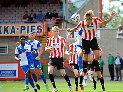 Harry Pell of Cheltenham Town heads clear - Mandatory by-line: Neil Brookman/JMP - 25/07/2015 - SPORT - FOOTBALL - Cheltenham Town,England - Whaddon Road - Cheltenham Town v Bristol Rovers - Pre-Season Friendly