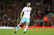 Andy Carroll of West Ham United covered in blood during the Premier League match at Anfield Stadium, Liverpool. Picture date: December 11th, 2016.Photo credit should read: Lynne Cameron/Sportimage