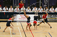 Loughborough, England - Saturday 31 July 2010: The USA team in action in the Double Dutch Pairs event  during the World Rope Skipping Championships held at Loughborough University, England. The championships run over 7 days and comprise junior categories for 12-14 year olds in the World Youth Tournament, 15-17 year olds male and female championships, and any age open championships. In the team competitions, 6 events are judged, the Single Rope Speed, Double Dutch Speed Relay, Single Rope Pair Freestyle, Single Rope Team Freestyle, Double Dutch Single Freestyle and Double Dutch Pair Freestyle. For more information check www.rs2010.org. Picture by Andrew Tobin/Picture It Now.