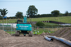A new Affinity Water pipeline is constructed between Chalfont St Giles and Amersham in conjunction with the HS2 high-speed rail link on 18th July 2020 in Chalfont St Giles, United Kingdom. The pipeline is being constructed to protect against the creation of turbidity, or cloudy water, in the water supply due to tunnelling and piledriving activities on the HS2 project.