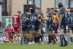 September 22, 2018 - Galway, Ireland - Bundee Aki of Connacht celebrates during the Guinness PRO14 match between Connacht Rugby and Scarlets at the Sportsground in Galway, Ireland on September 22, 2018  (Credit Image: © Andrew Surma/NurPhoto/ZUMA Press)