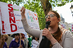 © Licensed to London News Pictures. 30/05/2019. London, UK. Laura Pidcock MP for North West Durham and Shadow Minister for Business, Energy and Industrial Strategy speaking outside Downing Street as hundreds of children, their families and supporters protests about a crisis in education for young people with special educational needs. Photo credit: Dinendra Haria/LNP