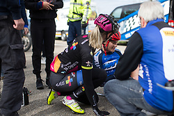 Hayley Jones (GBR) Of Team WNT sits up after her crash during the Omloop van Borsele - a 107.1 km road race, starting and finishing in s'-Heerenhoek on April 22, 2017, in Borsele, the Netherlands.
