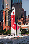 SailGP Team Japan in their final match race against Team Australia. Race Day 2 Event 3 Season 1 SailGP event in New York City, New York, United States. 22 June 2019. Photo: Chris Cameron for SailGP. Handout image supplied by SailGP