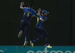 October 23, 2018 - Colombo, Sri Lanka - Sri Lankan cricketer Dushmantha Chameera celebrates after taking a wicket during the 5th One Day International cricket match between Sri Lanka and England at the R Premadasa International Cricket Stadium, Colombo,  Sri Lanka. Tuesday 23 October 2018  (Credit Image: © Tharaka Basnayaka/NurPhoto via ZUMA Press)