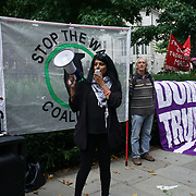 US Embassy, London, UK. 19th August 2017. Stop the War organise protests against Trump racism, neo-nazi and Stop Trump War with North Korea and solidarity with Charlotteville.