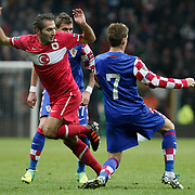 Turkey's Hamit ALTINTOP (L) during their UEFA EURO 2012 Play-off for Final Tournament First leg soccer match Turkey betwen Croatia at TT Arena in Istanbul Nüovember11, 2011. Photo by TURKPIX