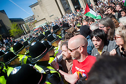 An EDL (English Defence League) organised event to lay flowers at Barkers Pool War Memorial Sheffield,  in memory of Drummer Lee Rigby, resulted in a two hour stand off when Sheffield Unite Against Fascism and One Sheffield Many Cultures supporters occupied Barkers Pool and surrounded the War Memorial leaving police to keep the opposing factions apart.<br /> Police attempt to create a corridor for the EDL to reach the War memorial <br /> 1 June 2013