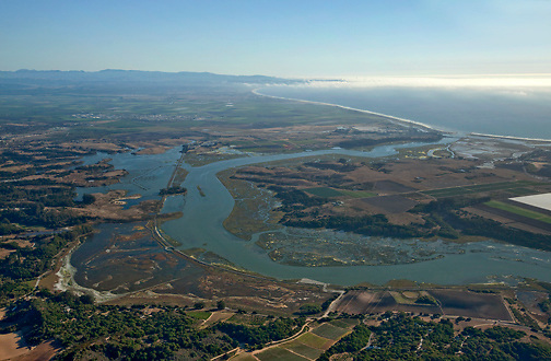 Aerial view of Elkhorn Slough in Moss Landing, California, looking south.