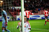 Fotball , 22. Oktober 2012, Tippeligaen Eliteserien<br /> Fredrikstad FK - SK Brann<br /> Jørgen Horn slår til stolpen i frustrasjon etter Brann og Kim Ojo sin utligning til 1-1<br /> Foto: Sjur Stølen , Digitalsport