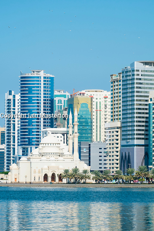 Skyline of Sharjah with modern high-rise buildings in in United Arab Emirates