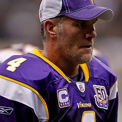 September 9, 2010; New Orleans, LA, USA; Minnesota Vikings quarterback Brett Favre (4) during the NFL Kickoff season opener at the Louisiana Superdome. The New Orleans Saints defeated the Minnesota Vikings 14-9.  Mandatory Credit: Derick E. Hingle