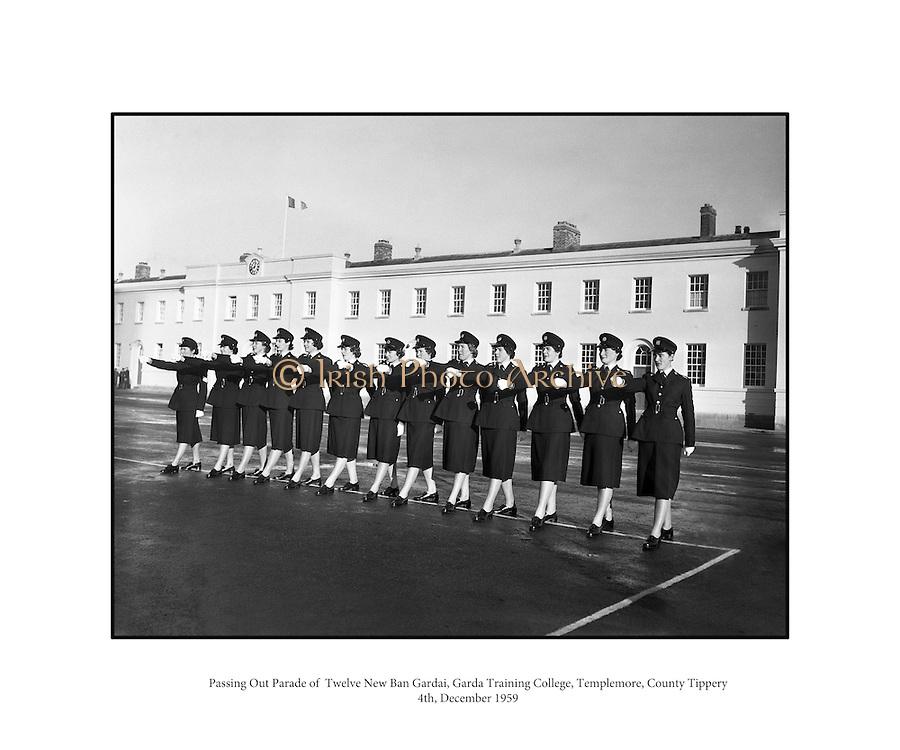 Passing Out Parade of Gardai - 12 New Ban Gardai.04/12/1959