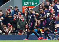 Callum Wilson of Bournemouth celebrates scoring the first goal during the Premier League match at Anfield, Liverpool. Picture date: 7th March 2020. Picture credit should read: Darren Staples/Sportimage