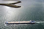 Nederland, Zeeland, Philipsdam, 23-10-2013; binnenvaartschip richting Krammersluizen onderdeel van de Schelde-Rijnverbinding. <br /> Barge sailing in the direction of the Krammersluizen (sluices), south-west Netherlands.<br /> luchtfoto (toeslag op standaard tarieven);<br /> aerial photo (additional fee required);<br /> copyright foto/photo Siebe Swart.