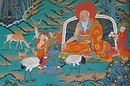 Painting with Deer and Cranes The Tibetan Lamaistic Buddhist Songtsam Monastery, Shangri-La or Xianggelila,  Zhongdian County, Yunnan, China