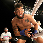 FORT LAUDERDALE, FL - FEBRUARY 15: Jim Alers enters the ring to fight Kaleb Harris during the Bare Knuckle Fighting Championships at Greater Fort Lauderdale Convention Center on February 15, 2020 in Fort Lauderdale, Florida. (Photo by Alex Menendez/Getty Images) *** Local Caption *** Jim Alers; Kaleb Harris