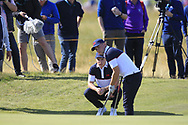 Conor Purcell (GB&I) and Alex Fitzpatrick (GB&I) on the 17th during Day 2 Foursomes of the Walker Cup, Royal Liverpool Golf CLub, Hoylake, Cheshire, England. 08/09/2019.<br /> Picture Thos Caffrey / Golffile.ie<br /> <br /> All photo usage must carry mandatory copyright credit (© Golffile   Thos Caffrey)