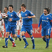 Istanbul BBS's Filip HOLOSKO (C) celebrate his goal with team mate during their Turkey Cup semi final soccer firsth match Istanbul BBS between Genclerbirligi at the Ataturk Olympic stadium in Istanbul Turkey on Thursday 07 April 2011. Photo by TURKPIX