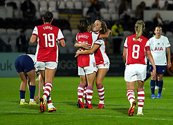Arsenal's Mana Iwabuchi (centre) celebrates scoring their side's first goal of the game with team-mates during the Vitality Women's FA Cup quarter final match at Borehamwood, London. Picture date: Wednesday September 29, 2021.