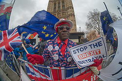 Joseph Afrane outside the UK Houses of Parliament in London ahead of the second so-called significant vote in House of Commons on Theresa May's revised EU Withdrawal (Brexit) Agreement. Photo date: Tuesday, March 12, 2019. Photo credit should read: Richard Gray/EMPICS