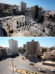 07.07.2015, Gaza city, PSE, Nahostkonflikt zwischen Israel und Palästina, Vorher und Nachher, im Bild eine Combo von zwei Bildern das obere ist im Krieg des Sommers 2014 zwischen Palästina und Israel und aufgenommen worden, das untere am 07. Juli 2015 // A combination of pictures made on July 7, 2015 shows (top) Palestinian rescue workers search under the rubble of a tower building housing offices which witnesses said was destroyed by an Israeli air strike in Gaza City August 26, 2014, and the same place (bottom) on July 7, 2015, a year after the 50-day war between Israel and Hamas' militants, Palestine on 2015/07/07. EXPA Pictures © 2015, PhotoCredit: EXPA/ APAimages/ Ashraf Amra<br /> <br /> *****ATTENTION - for AUT, GER, SUI, ITA, POL, CRO, SRB only*****