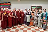 Tibetan Nuns Project team with five of the first Geshema and Ven. Thubten Chödren, Jetsunma Tenzin Palmo, Ven. Karma Lekshe Tsomo and Bhiksuni Jampa Tsedroen after the lunch with His Holiness Dalai Lama at Drepung Lachi in Mundgod, Karnataka, India on December 22, 2016.