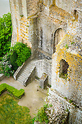 Abbey wall and courtyard, Mont Saint-Michel monastery, Normandy, France