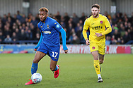 AFC Wimbledon attacker Julien Lamy (17) dribbling and taking on Fleetwood Town attacker Wes Burns (7) during the EFL Sky Bet League 1 match between AFC Wimbledon and Fleetwood Town at the Cherry Red Records Stadium, Kingston, England on 8 February 2020.