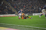 *** during the Sky Bet Championship match between Hull City and Bolton Wanderers at the KC Stadium, Kingston upon Hull, England on 12 December 2015. Photo by Ian Lyall.