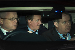 © Licensed to London News Pictures. 08/02/2016. London, UK. Prime Minister DAVDI CAMERON (C) leaves the The Brewery in London after attending the annual Conservative Party Black & White Ball, a Conservative Party fundraiser.  Photo credit: Ben Cawthra/LNP